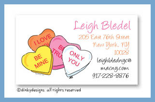 Conversation hearts calling cards, personalized