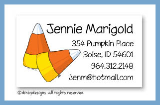 Candy corns calling cards, personalized