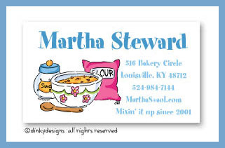Baking goods calling cards, personalized