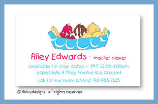 Banana boat calling cards, personalized