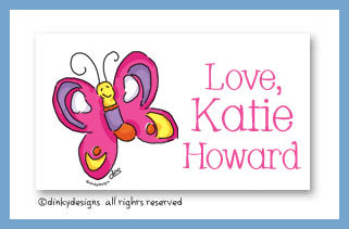 Pansy the flutterby calling cards, personalized