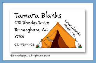 Pitch a tent calling cards, personalized
