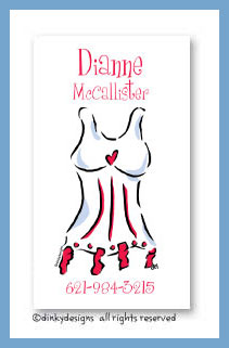 Red line corset calling cards, personalized