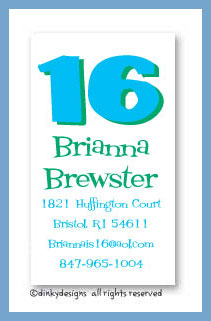 Sweet 16 calling cards, personalized