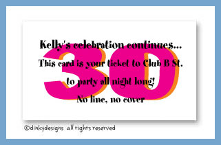 Flirty 30 calling cards, personalized