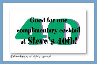 40 and lovin' it calling cards, personalized