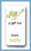 Worm with pencil calling card stickers personalized