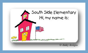 School house calling card stickers personalized