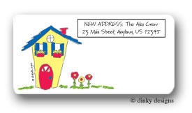 Colorful little house calling card stickers personalized