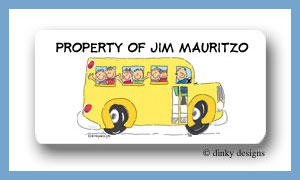 School bus with kids calling card stickers personalized
