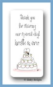 Whimsical wedding cake calling card stickers personalized