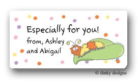 Fuzzy catapillar calling card stickers personalized