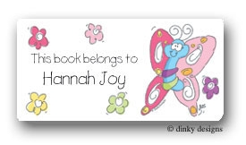 Multi colored flutterby calling card stickers personalized