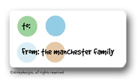 Peek-a-blue dots calling card stickers personalized