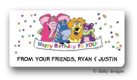 Zebra & pals calling card stickers personalized