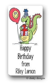 Dino party calling card stickers personalized