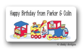 Train and toys calling card stickers personalized