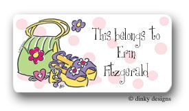 Girly purse and shoes calling card stickers personalized