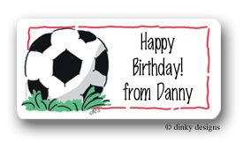 Soccer ball calling card stickers personalized