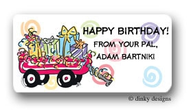 Wagon full of gifts calling card stickers personalized