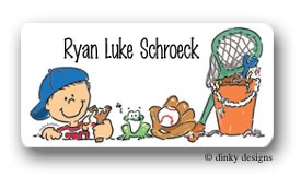 Boys toys calling card stickers personalized