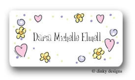 Pretty pinks and purples calling card stickers personalized