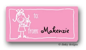 Girl with gift calling card stickers personalized