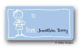 Boy with gift calling card stickers personalized