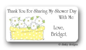 Daisy flower box calling card stickers personalized