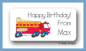 Fire truck calling card stickers personalized