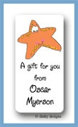 Selma the starfish calling card stickers personalized