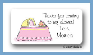Girl in bassinet calling card stickers personalized