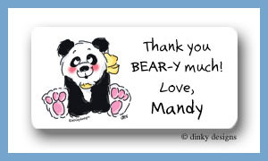 Polly panda calling card stickers personalized