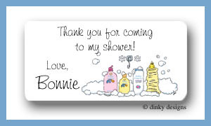 Baby bath calling card stickers personalized