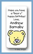 Bear calling card stickers personalized