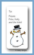 Snowman calling card stickers personalized