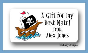 Pirate ship calling cards stickers, personalized