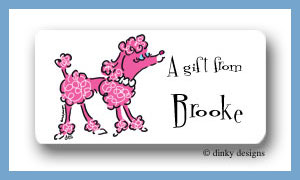 Fifi poodle calling card stickers personalized