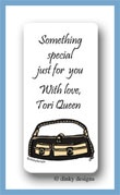 Black & tan pocketbook calling card stickers personalized
