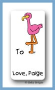Sylvester the flamingo calling card stickers personalized