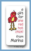 Frankie the red bird calling card stickers personalized