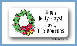 Christmas wreath calling card stickers personalized