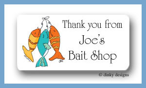 Hook, line & sinker calling card stickers, personalized