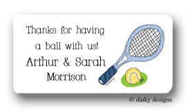 Tennis, anyone? calling card stickers personalized