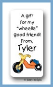 Big wheel calling card stickers personalized