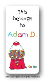 Goodie, goodie gumballs calling card stickers personalized