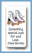 Roller girl calling card stickers, personalized