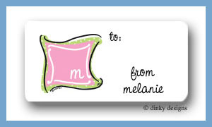 Preppy monogram calling card stickers personalized