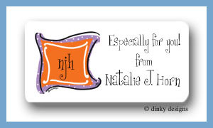 Grape n' orange monogram calling card stickers personalized