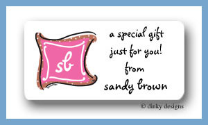 Chocolate pink taffy monogram calling card stickers personalized